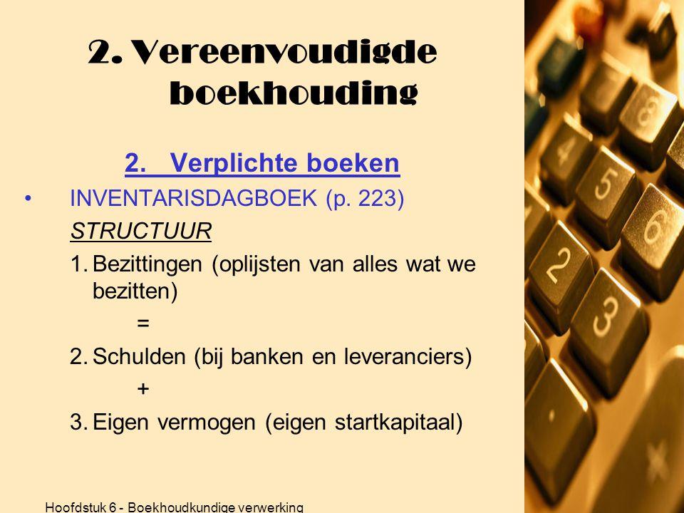 Hoofdstuk 6 - Boekhoudkundige verwerking 2. Vereenvoudigde boekhouding 2.Verplichte boeken •INVENTARISDAGBOEK  Eénmaal per jaar!!!  Overzicht van al
