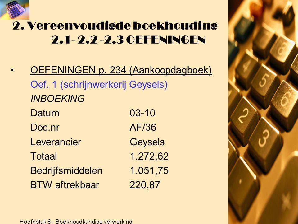 Hoofdstuk 6 - Boekhoudkundige verwerking 2. Vereenvoudigde boekhouding 2.1- 2.2 -2.3 OEFENINGEN •OEFENINGEN p. 234 (Aankoopdagboek) Oef. 1 (schrijnwer