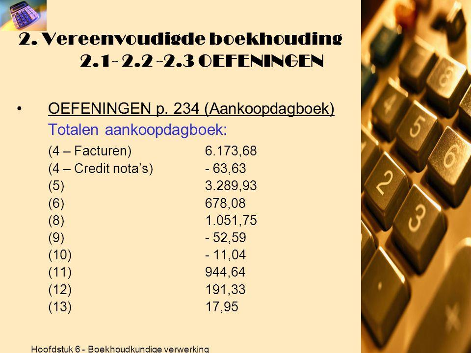 Hoofdstuk 6 - Boekhoudkundige verwerking 2. Vereenvoudigde boekhouding 2.1- 2.2 -2.3 OEFENINGEN •OEFENINGEN p. 234 (Aankoopdagboek) Oef. 11 (Artiflora