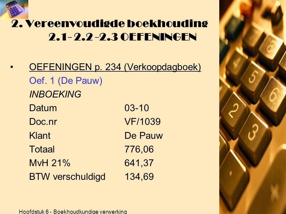 Hoofdstuk 6 - Boekhoudkundige verwerking 2. Vereenvoudigde boekhouding 2.1- 2.2 -2.3 OEFENINGEN •OEFENINGEN p. 234 (Verkoopdagboek) Oef. 1 (De Pauw) B