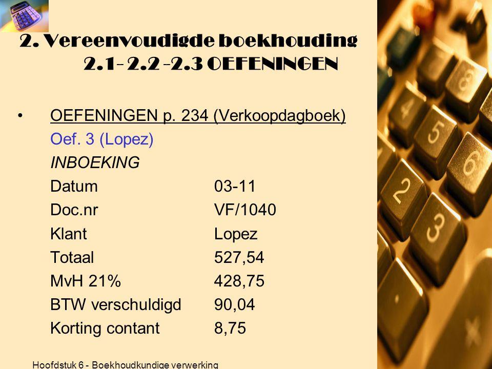 Hoofdstuk 6 - Boekhoudkundige verwerking 2. Vereenvoudigde boekhouding 2.1- 2.2 -2.3 OEFENINGEN •OEFENINGEN p. 234 (Verkoopdagboek) Oef. 3 (Lopez) BER