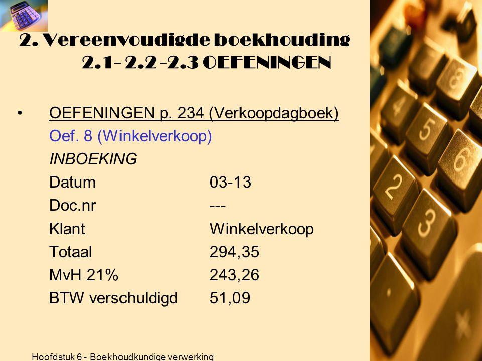 Hoofdstuk 6 - Boekhoudkundige verwerking 2. Vereenvoudigde boekhouding 2.1- 2.2 -2.3 OEFENINGEN •OEFENINGEN p. 234 (Verkoopdagboek) Oef. 8 (Winkelverk