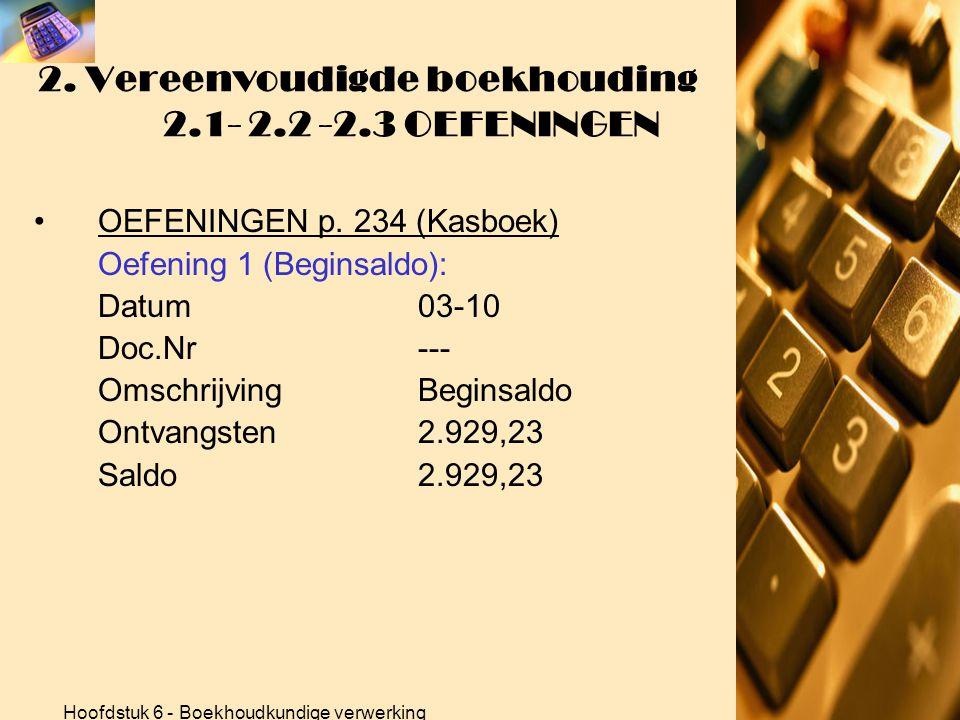 Hoofdstuk 6 - Boekhoudkundige verwerking 2. Vereenvoudigde boekhouding 2.1- 2.2 -2.3 OEFENINGEN •OEFENINGEN p. 234 (Verkoopdagboek) Totalen verkoopdag
