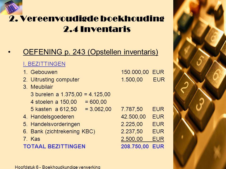 Hoofdstuk 6 - Boekhoudkundige verwerking 2. Vereenvoudigde boekhouding 2.1- 2.2 -2.3 OEFENINGEN •OEFENINGEN p. 234 (Kasboek) Totalen kasboek: (4)5.357