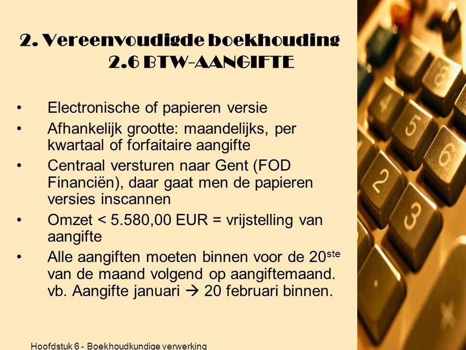 Hoofdstuk 6 - Boekhoudkundige verwerking 2. Vereenvoudigde boekhouding 2.6 BTW-AANGIFTE