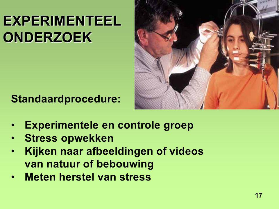 17 EXPERIMENTEEL ONDERZOEK Standaardprocedure: •Experimentele en controle groep •Stress opwekken •Kijken naar afbeeldingen of videos van natuur of bebouwing •Meten herstel van stress