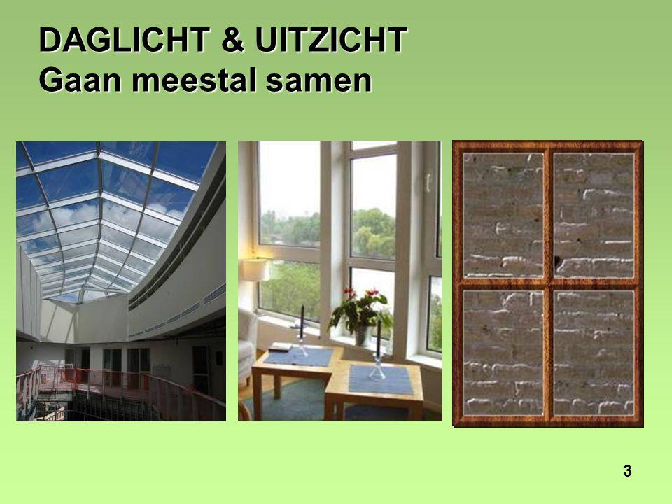 4 DAGLICHT & UITZICHT Afzonderlijke elementen Daglicht zonder uitzicht Uitzicht zonder daglicht
