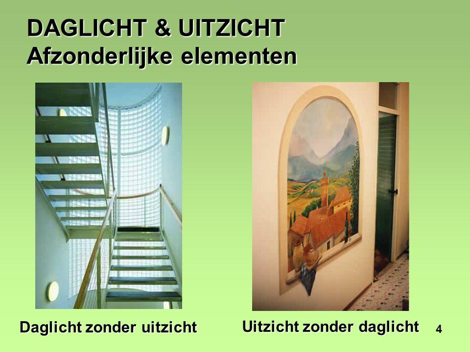 15 UITZICHT EN GEZONDHEID Ulrich (1984) deed onderzoek naar patiënten die herstelden van een galblaasoperatie in een kamer met uitzicht op stenen muur of in een kamer met uitzicht op bomen.