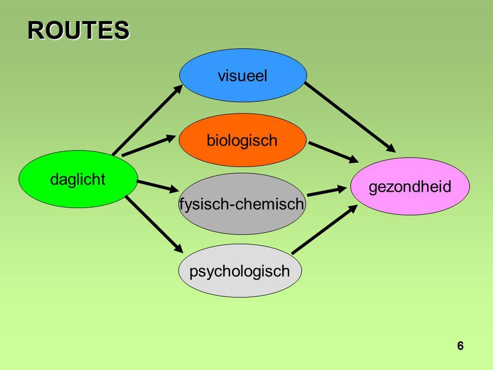 7 VISUEEL Oogproblemen door: •Te weinig licht; •Flikkerend licht; •Scherp contrast licht/donker.
