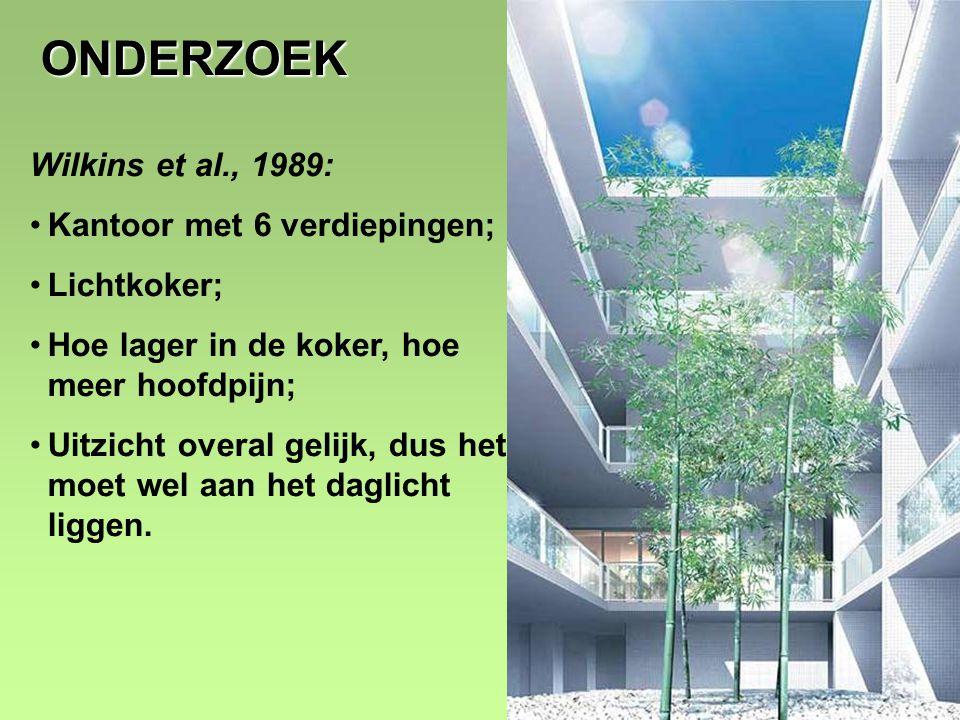 8 ONDERZOEK Wilkins et al., 1989: •Kantoor met 6 verdiepingen; •Lichtkoker; •Hoe lager in de koker, hoe meer hoofdpijn; •Uitzicht overal gelijk, dus het moet wel aan het daglicht liggen.