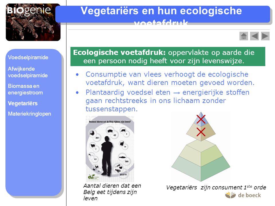 Vegetariërs en hun ecologische voetafdruk Ecologische voetafdruk: oppervlakte op aarde die een persoon nodig heeft voor zijn levenswijze. •Consumptie