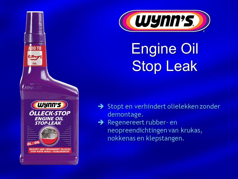  Stopt en verhindert olielekken zonder demontage.  Regenereert rubber- en neopreendichtingen van krukas, nokkenas en klepstangen.  Stopt en verhind