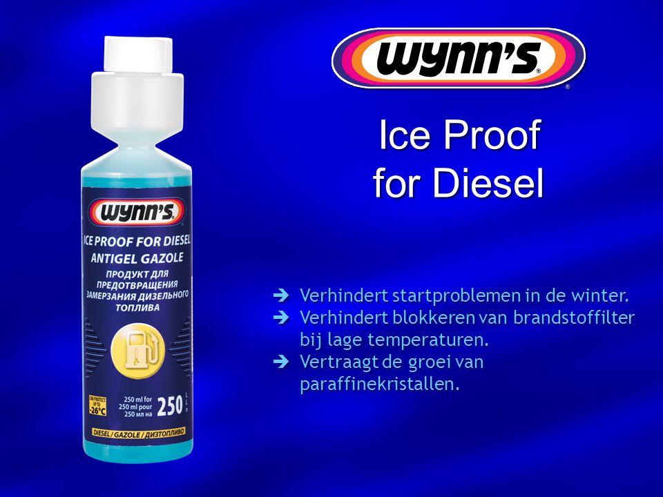  Verhindert startproblemen in de winter.  Verhindert blokkeren van brandstoffilter bij lage temperaturen.  Vertraagt de groei van paraffinekristall