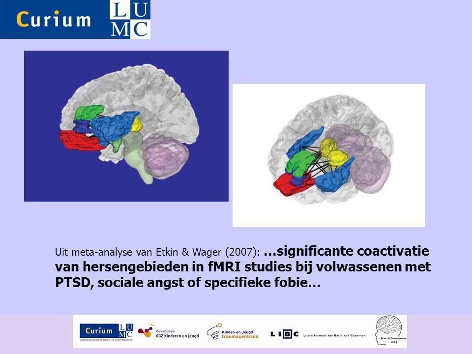 Uit meta-analyse van Etkin & Wager (2007): …significante coactivatie van hersengebieden in fMRI studies bij volwassenen met PTSD, sociale angst of spe