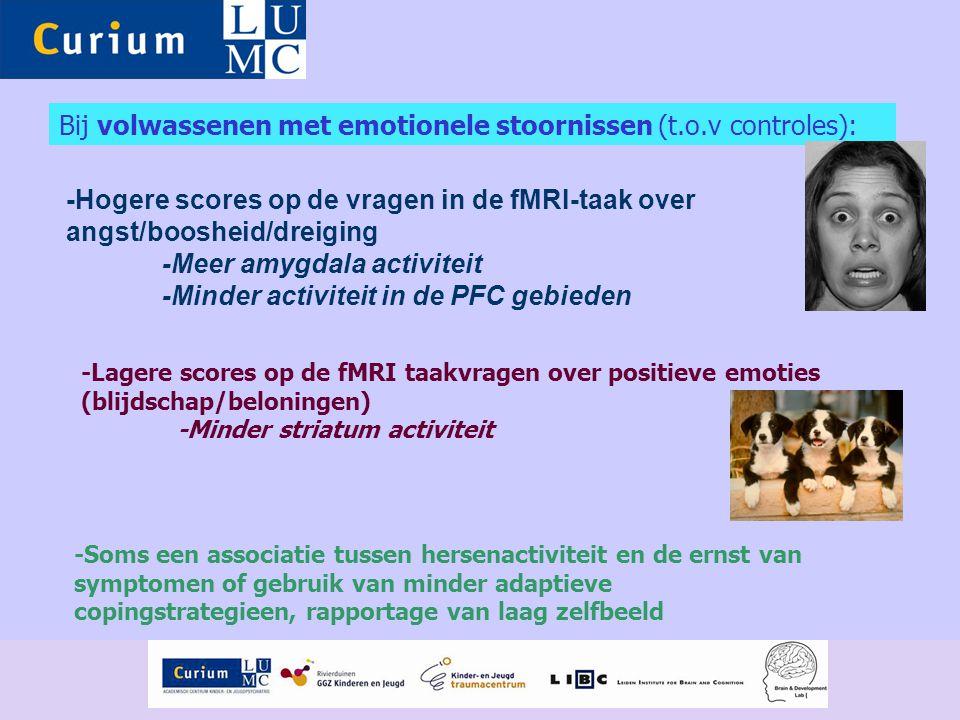 Bij volwassenen met emotionele stoornissen (t.o.v controles): -Hogere scores op de vragen in de fMRI-taak over angst/boosheid/dreiging -Meer amygdala