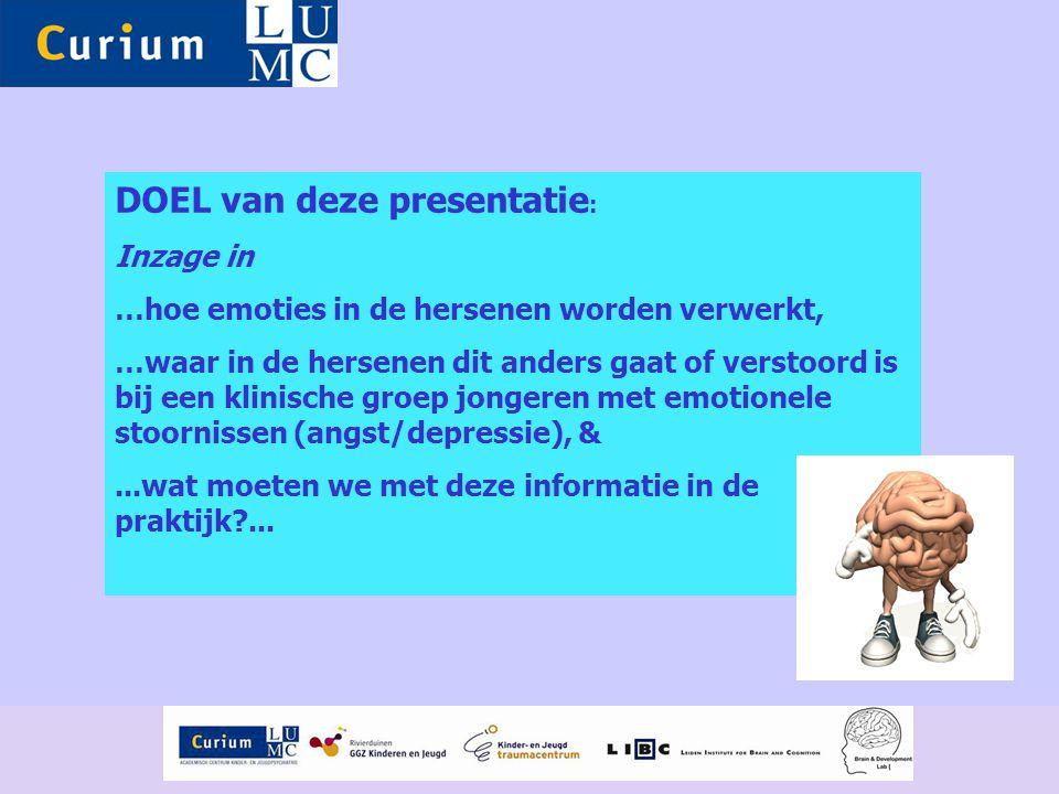 DOEL van deze presentatie : Inzage in …hoe emoties in de hersenen worden verwerkt, …waar in de hersenen dit anders gaat of verstoord is bij een klinis