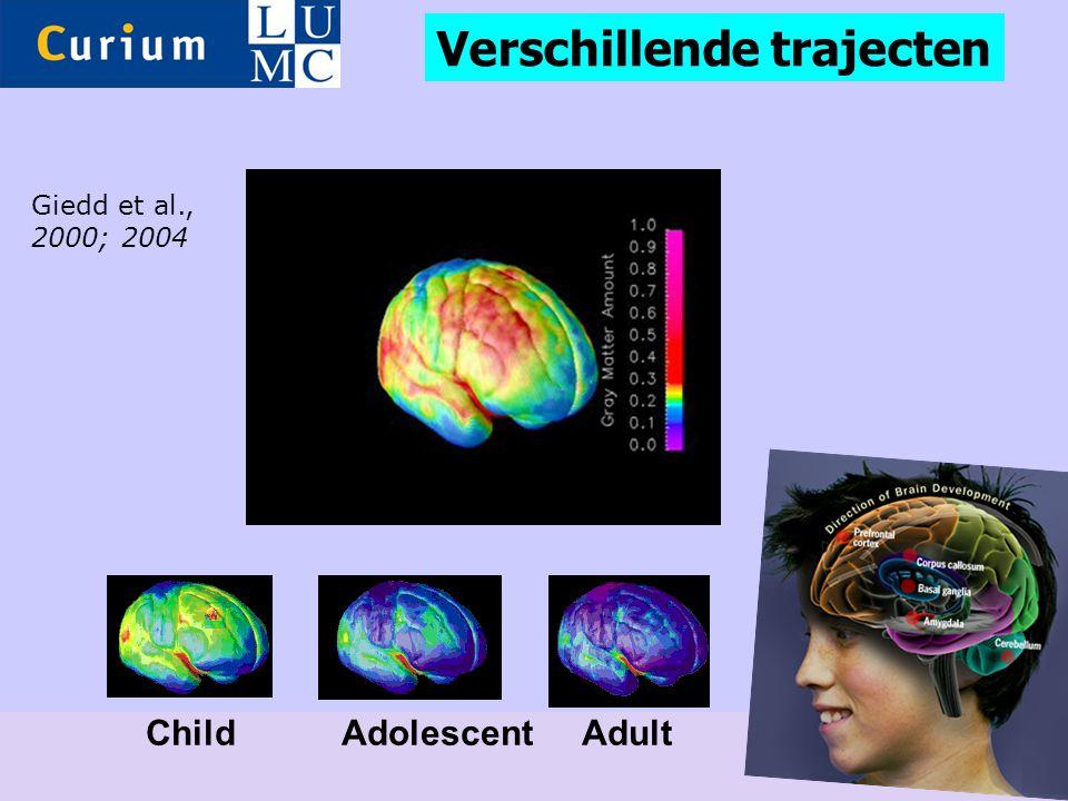 Child Adolescent Adult Giedd et al., 2000; 2004 Verschillende trajecten
