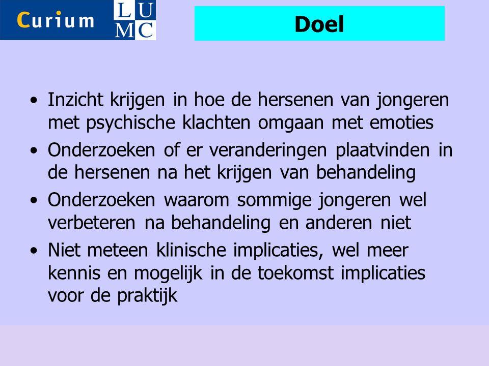Doel •Inzicht krijgen in hoe de hersenen van jongeren met psychische klachten omgaan met emoties •Onderzoeken of er veranderingen plaatvinden in de he