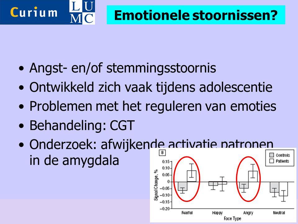 •Angst- en/of stemmingsstoornis •Ontwikkeld zich vaak tijdens adolescentie •Problemen met het reguleren van emoties •Behandeling: CGT •Onderzoek: afwi