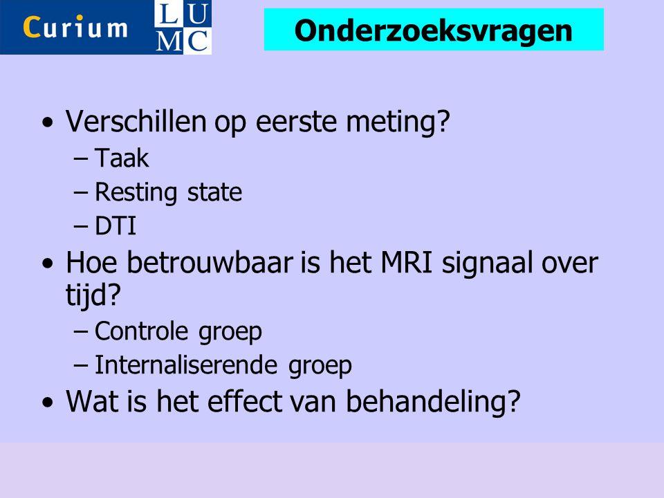 •Verschillen op eerste meting? –Taak –Resting state –DTI •Hoe betrouwbaar is het MRI signaal over tijd? –Controle groep –Internaliserende groep •Wat i