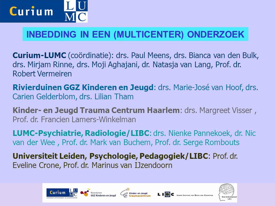 Curium-LUMC (coördinatie): drs. Paul Meens, drs. Bianca van den Bulk, drs. Mirjam Rinne, drs. Moji Aghajani, dr. Natasja van Lang, Prof. dr. Robert Ve
