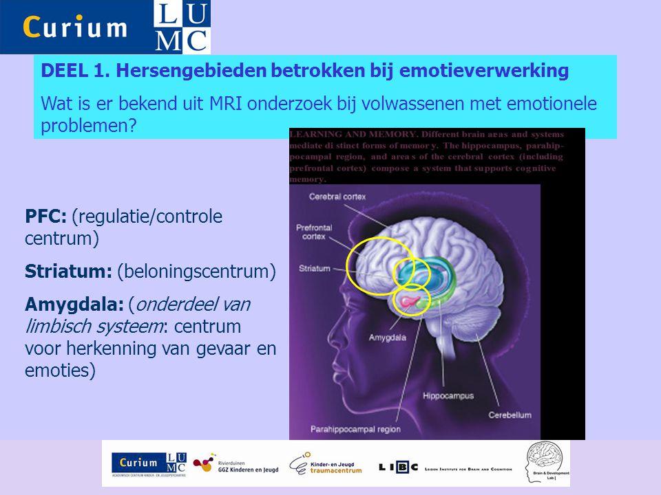 DEEL 1. Hersengebieden betrokken bij emotieverwerking Wat is er bekend uit MRI onderzoek bij volwassenen met emotionele problemen? PFC: (regulatie/con