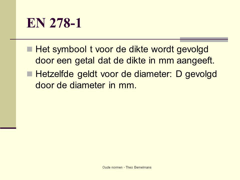 Oude normen - Theo Bemelmans EN 278-1  Het symbool t voor de dikte wordt gevolgd door een getal dat de dikte in mm aangeeft.  Hetzelfde geldt voor d