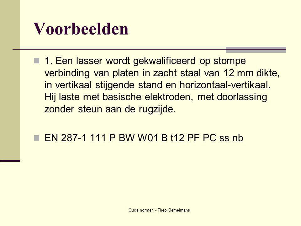 Oude normen - Theo Bemelmans Voorbeelden  1. Een lasser wordt gekwalificeerd op stompe verbinding van platen in zacht staal van 12 mm dikte, in verti