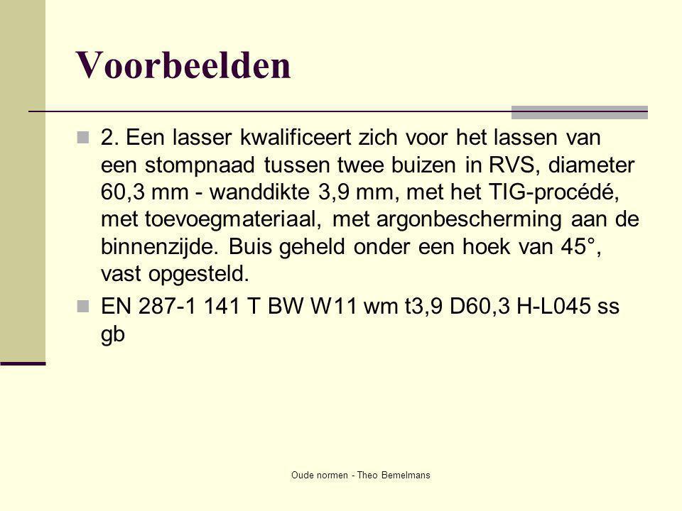 Oude normen - Theo Bemelmans Voorbeelden  2. Een lasser kwalificeert zich voor het lassen van een stompnaad tussen twee buizen in RVS, diameter 60,3