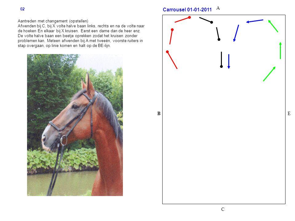 B C A E Aantreden met changement (opstellen) Afwenden bij C, bij X volte halve baan links, rechts en na de volte naar de hoeken En elkaar bij X kruisen.
