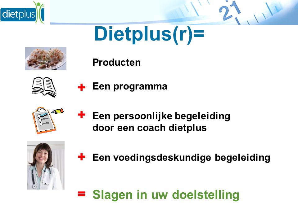 Dietplus(r)= Producten Een programma Een persoonlijke begeleiding door een coach dietplus Een voedingsdeskundige begeleiding Slagen in uw doelstelling + + + =