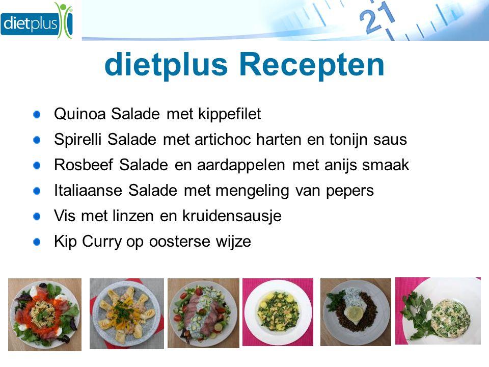 dietplus Recepten Quinoa Salade met kippefilet Spirelli Salade met artichoc harten en tonijn saus Rosbeef Salade en aardappelen met anijs smaak Italiaanse Salade met mengeling van pepers Vis met linzen en kruidensausje Kip Curry op oosterse wijze