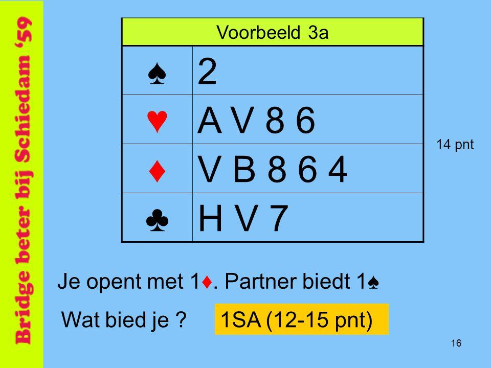 16 Voorbeeld 3a ♠2 ♥A V 8 6 ♦V B 8 6 4 ♣H V 7 Je opent met 1♦. Partner biedt 1♠ Wat bied je ?1SA (12-15 pnt) 14 pnt
