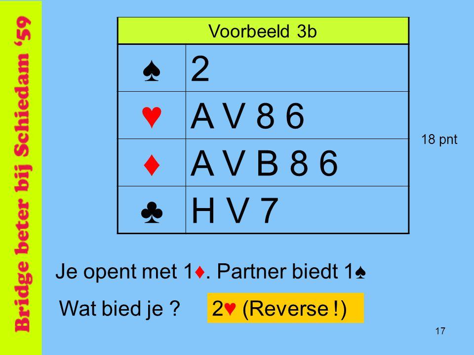 17 Voorbeeld 3b ♠2 ♥A V 8 6 ♦A V B 8 6 ♣H V 7 Je opent met 1♦. Partner biedt 1♠ Wat bied je ?2♥ (Reverse !) 18 pnt