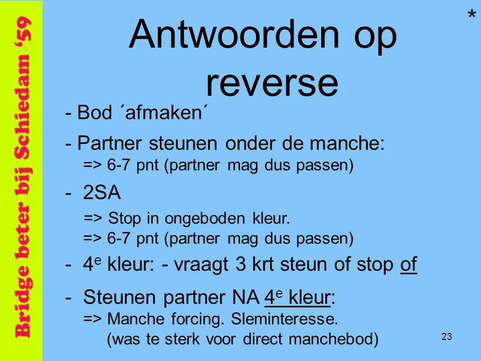 23 Antwoorden op reverse - Bod ´afmaken´ -4 e kleur: - vraagt 3 krt steun of stop of - Partner steunen onder de manche: => 6-7 pnt (partner mag dus pa