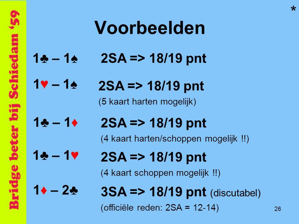26 Voorbeelden 1♣ – 1♠ 1♥ – 1♠ 1♣ – 1♦ 1♦ – 2♣ 2SA => 18/19 pnt (5 kaart harten mogelijk) 2SA => 18/19 pnt (4 kaart harten/schoppen mogelijk !!) 3SA =