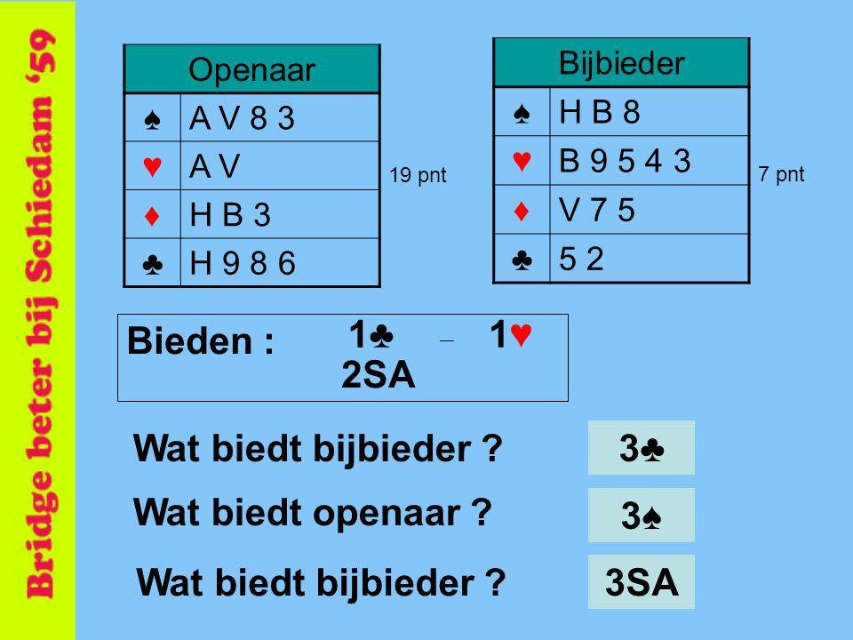 Bijbieder ♠H B 8 ♥B 9 5 4 3 ♦V 7 5 ♣5 2 Openaar ♠A V 8 3 ♥A V ♦H B 3 ♣H 9 8 6 19 pnt 7 pnt 3♠3♠ Wat biedt bijbieder ? Wat biedt openaar ? 3♣ Wat biedt