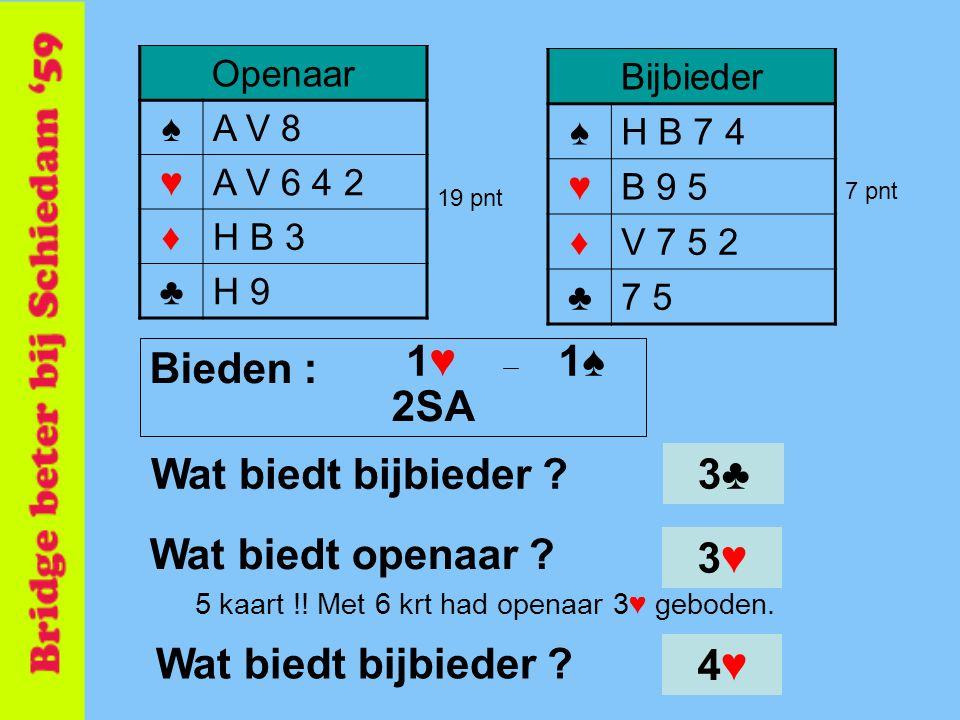 Bijbieder ♠H B 7 4 ♥B 9 5 ♦V 7 5 2 ♣7 5 Openaar ♠A V 8 ♥A V 6 4 2 ♦H B 3 ♣H 9 19 pnt 7 pnt 5 kaart !! Met 6 krt had openaar 3♥ geboden. 3♥3♥ Wat biedt