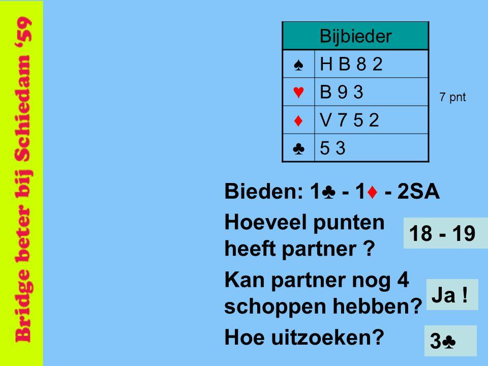 50 Bijbieder ♠H B 8 2 ♥B 9 3 ♦V 7 5 2 ♣5 3 Bieden: 1♣ - 1♦ - 2SA Hoeveel punten heeft partner ? 18 - 19 Kan partner nog 4 schoppen hebben? Ja ! 7 pnt