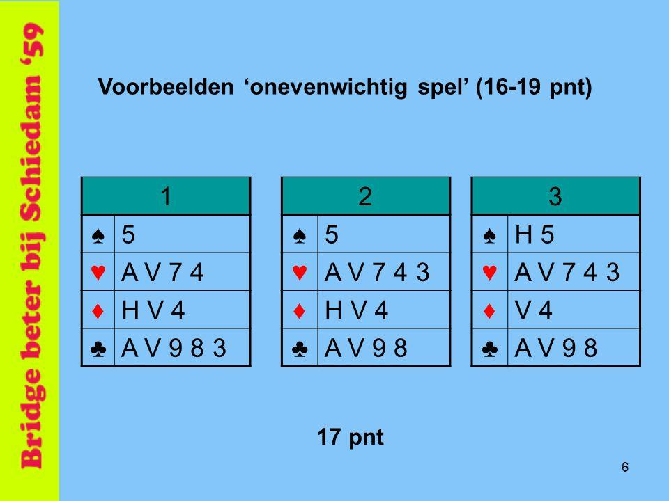 Bijbieder ♠H B 8 ♥B 9 5 4 3 ♦V 7 5 2 ♣5 Openaar ♠A V 3 ♥A V 8 ♦H B 3 ♣H 9 8 6 19 pnt 7 pnt 3♥3♥ Wat biedt bijbieder .
