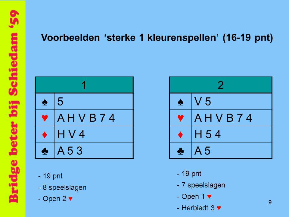 9 1 ♠5 ♥A H V B 7 4 ♦H V 4 ♣A 5 3 2 ♠V 5 ♥A H V B 7 4 ♦H 5 4 ♣A 5 Voorbeelden 'sterke 1 kleurenspellen' (16-19 pnt) - 19 pnt - 8 speelslagen - Open 2