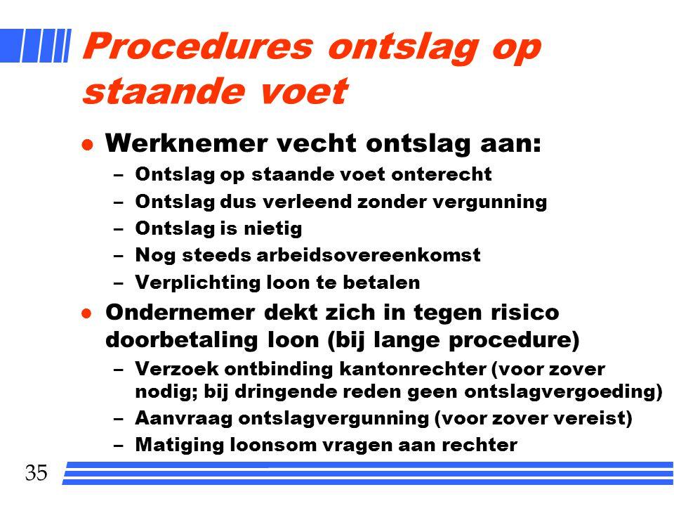 35 Procedures ontslag op staande voet l Werknemer vecht ontslag aan: –Ontslag op staande voet onterecht –Ontslag dus verleend zonder vergunning –Ontsl
