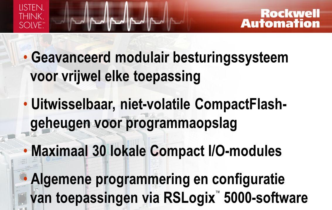 • Geavanceerd modulair besturingssysteem voor vrijwel elke toepassing • Uitwisselbaar, niet-volatile CompactFlash- geheugen voor programmaopslag • Maximaal 30 lokale Compact I/O-modules • Algemene programmering en configuratie van toepassingen via RSLogix ™ 5000-software