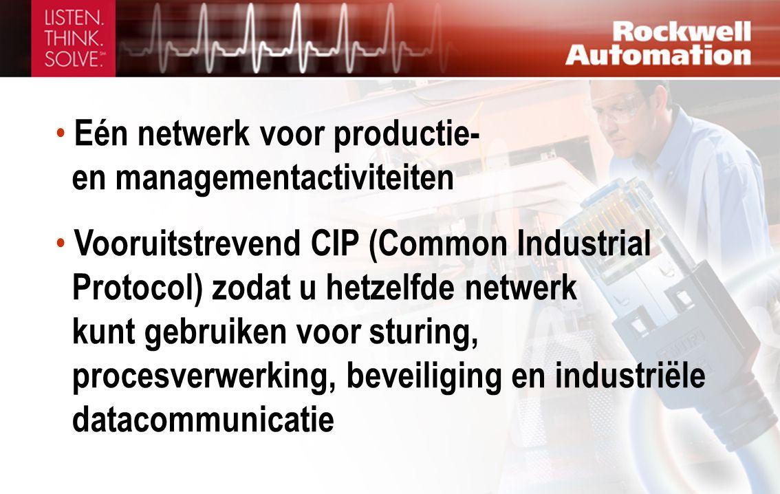 • Eén netwerk voor productie- en managementactiviteiten • Vooruitstrevend CIP (Common Industrial Protocol) zodat u hetzelfde netwerk kunt gebruiken voor sturing, procesverwerking, beveiliging en industriële datacommunicatie