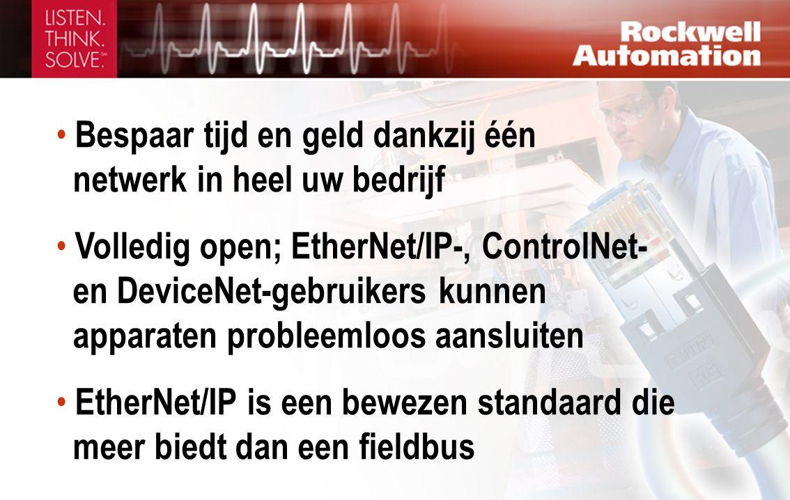 • Bespaar tijd en geld dankzij één netwerk in heel uw bedrijf • Volledig open; EtherNet/IP-, ControlNet- en DeviceNet-gebruikers kunnen apparaten prob