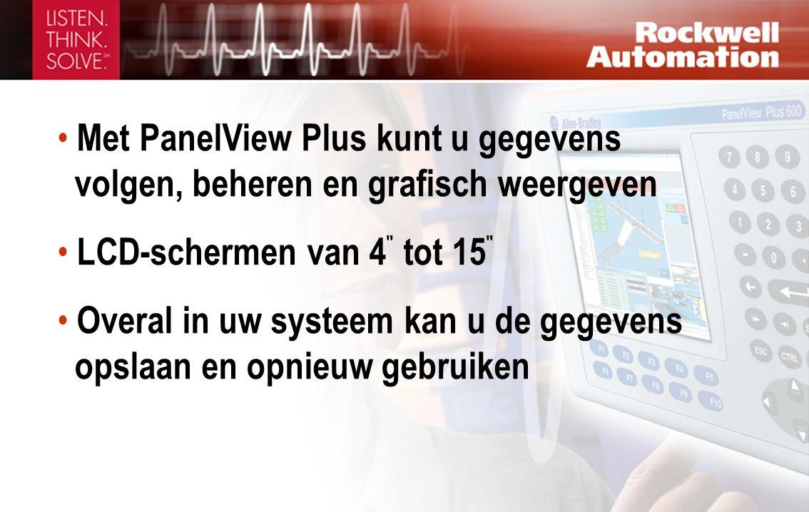 • Met PanelView Plus kunt u gegevens volgen, beheren en grafisch weergeven • LCD-schermen van 4 tot 15 • Overal in uw systeem kan u de gegevens opslaan en opnieuw gebruiken