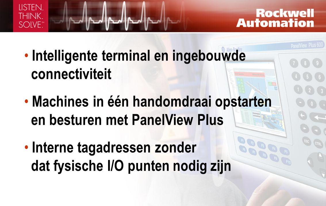 • Intelligente terminal en ingebouwde connectiviteit • Machines in één handomdraai opstarten en besturen met PanelView Plus • Interne tagadressen zond