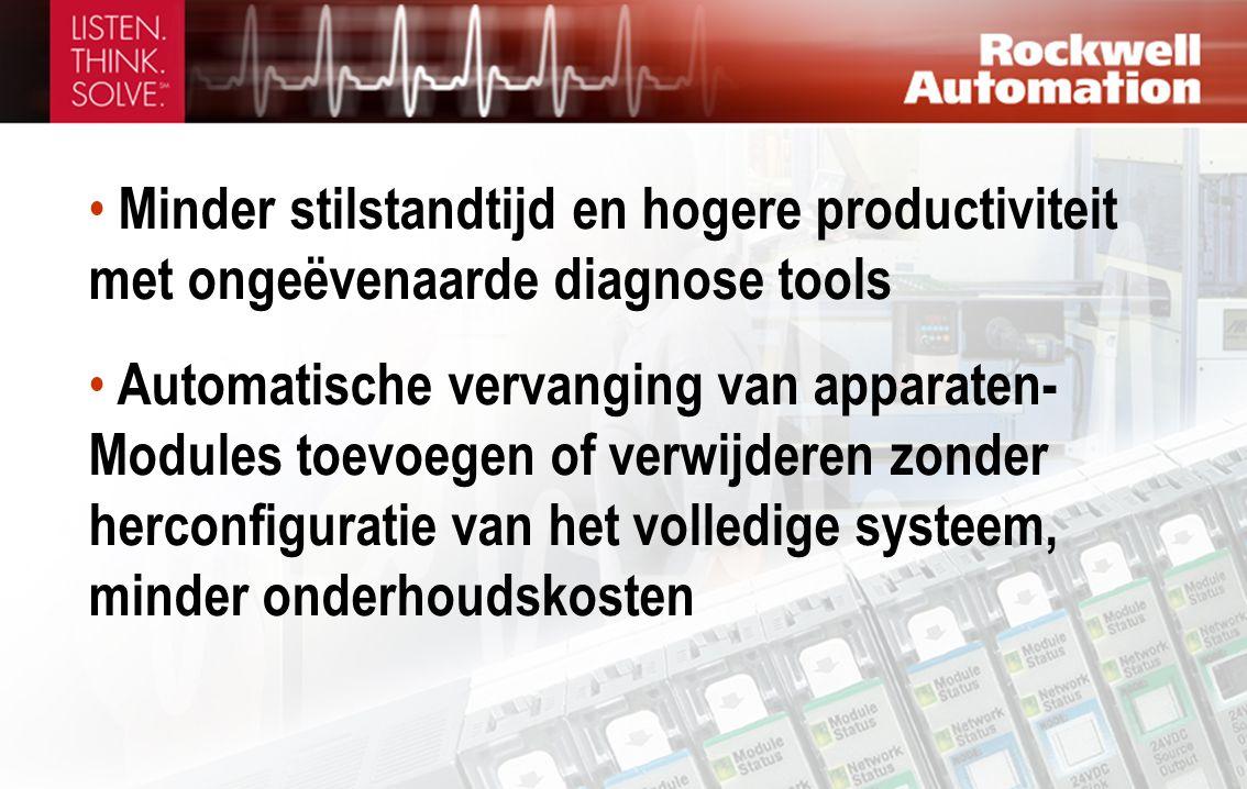• Minder stilstandtijd en hogere productiviteit met ongeëvenaarde diagnose tools • Automatische vervanging van apparaten- Modules toevoegen of verwijderen zonder herconfiguratie van het volledige systeem, minder onderhoudskosten