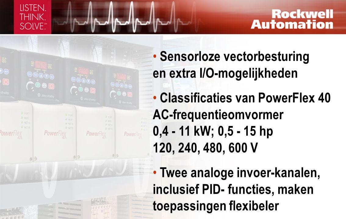 • Sensorloze vectorbesturing en extra I/O-mogelijkheden • Classificaties van PowerFlex 40 AC-frequentieomvormer 0,4 - 11 kW; 0,5 - 15 hp 120, 240, 480, 600 V • Twee analoge invoer-kanalen, inclusief PID- functies, maken toepassingen flexibeler