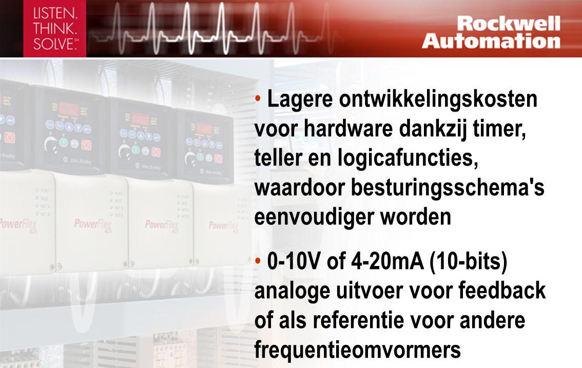 • Lagere ontwikkelingskosten voor hardware dankzij timer, teller en logicafuncties, waardoor besturingsschema's eenvoudiger worden • 0-10V of 4-20mA (